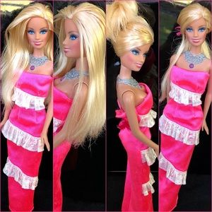 Beautiful Blonde Barbie Doll With Pink Dress